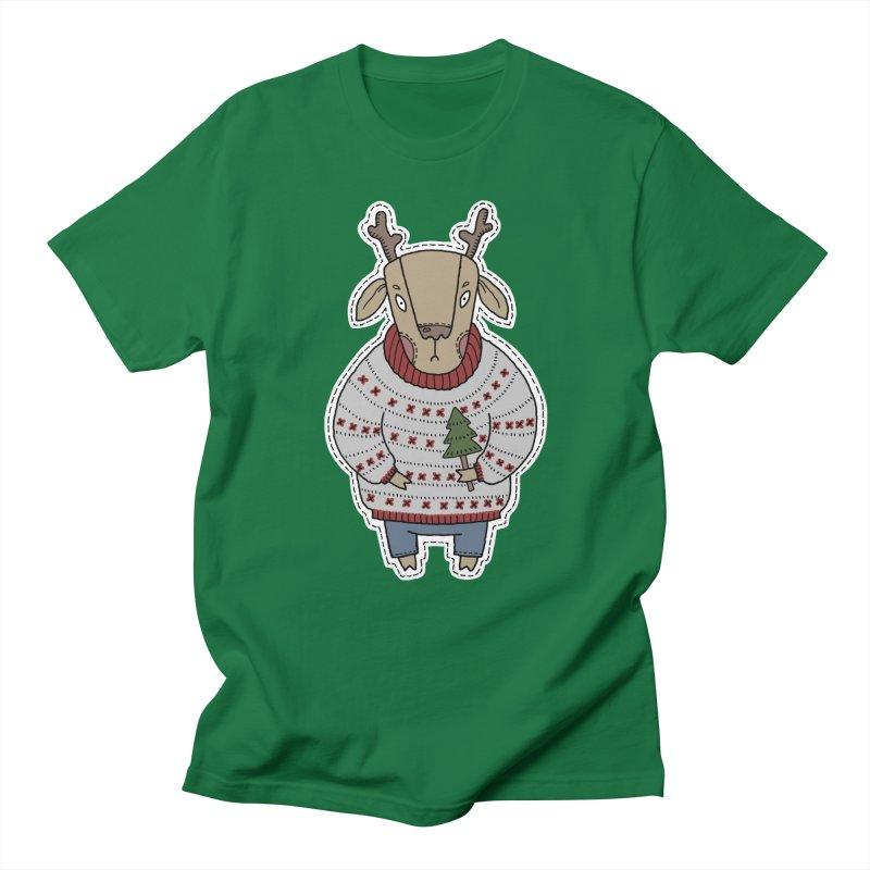 Christmas Deer Men's Regular T-Shirt by Crazy Pangolin's Artist Shop