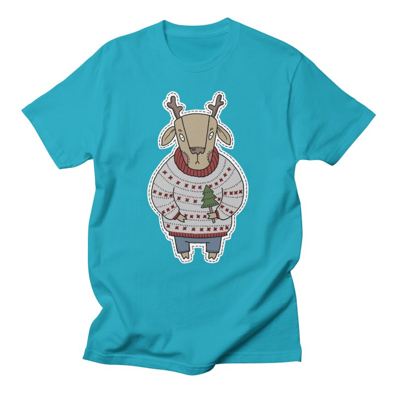 Christmas Deer Women's Regular Unisex T-Shirt by Crazy Pangolin's Artist Shop