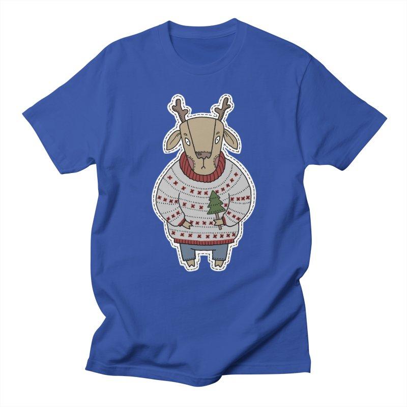 Christmas Deer Women's Unisex T-Shirt by Crazy Pangolin's Artist Shop