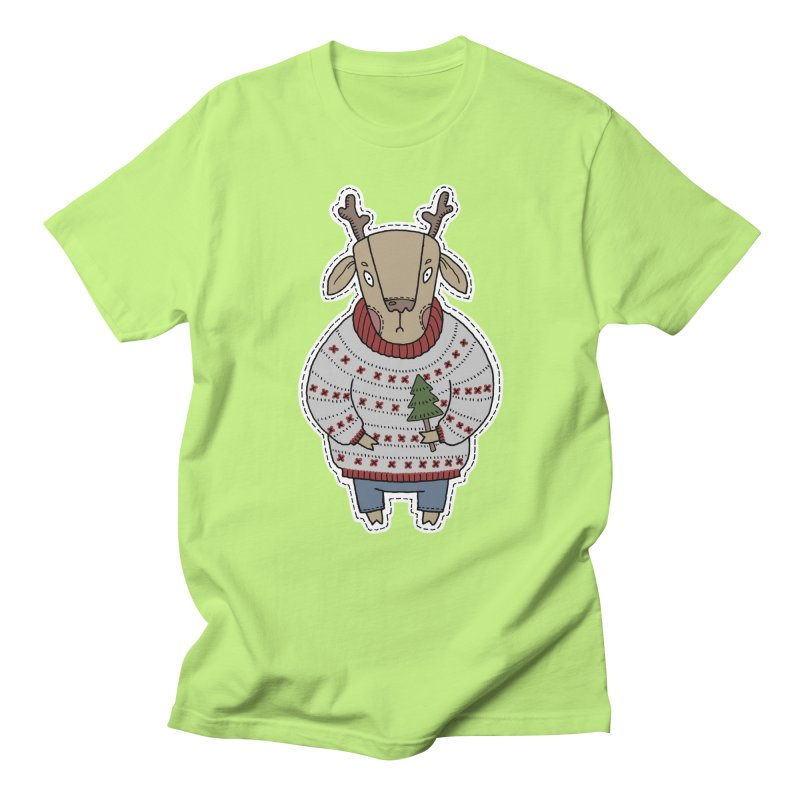 Christmas Deer Men's Regular T-Shirt by Crazy Pangolin's Artist Shop