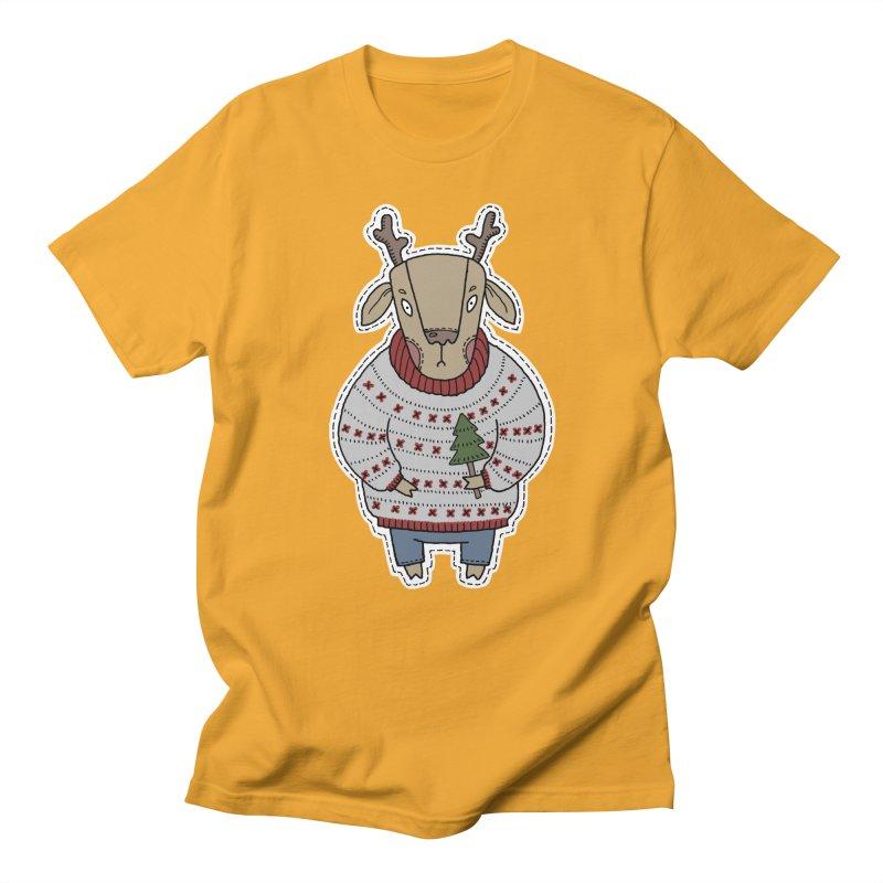Christmas Deer Women's Regular Unisex T-Shirt by Crazy Pangolin's Artist Shop