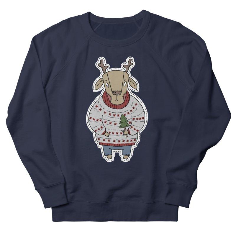 Christmas Deer Men's French Terry Sweatshirt by Crazy Pangolin's Artist Shop