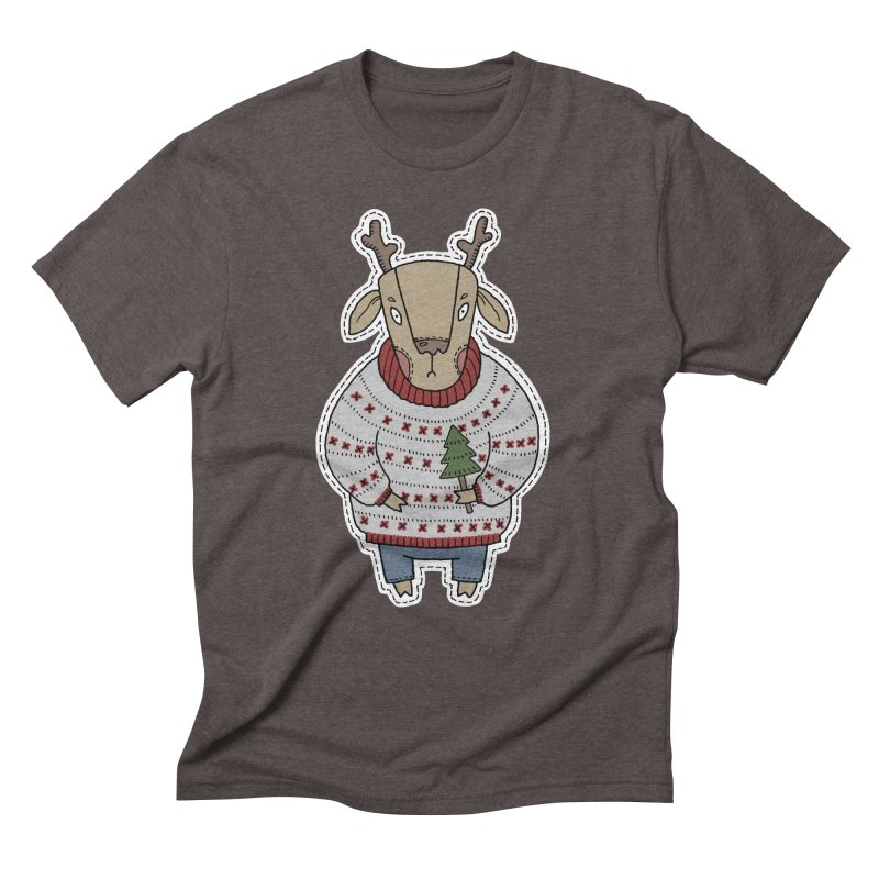 Christmas Deer Men's Triblend T-Shirt by Crazy Pangolin's Artist Shop