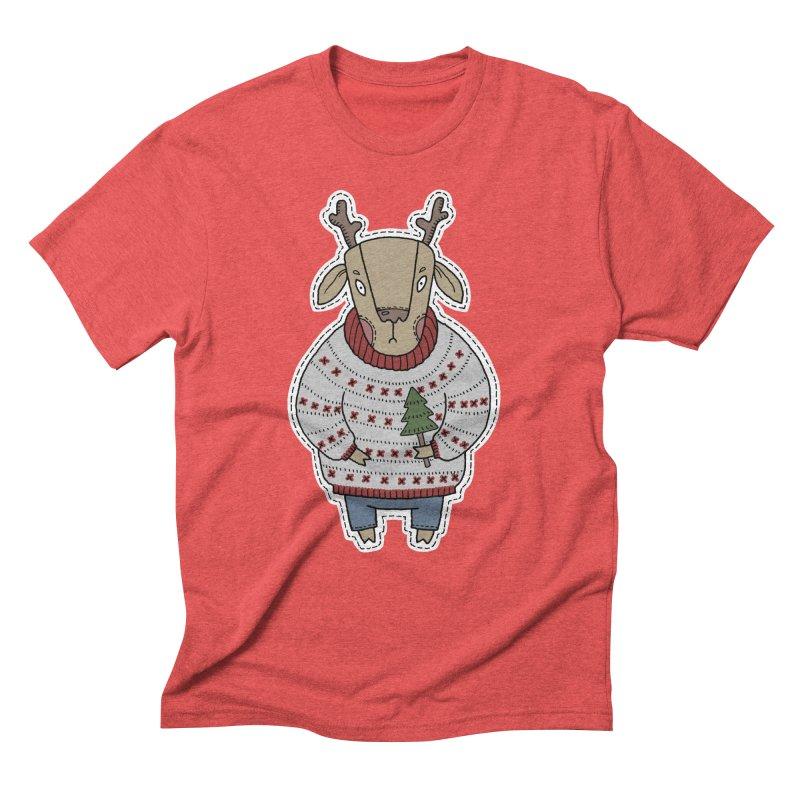 Christmas Deer Men's Triblend T-Shirt by Crazy Pangolin's Artist Shop