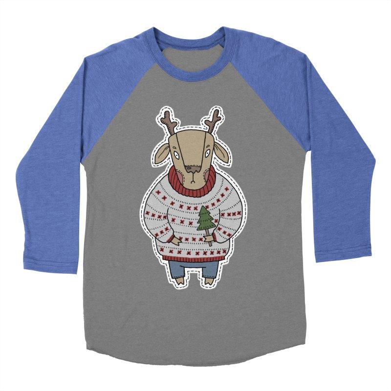 Christmas Deer Women's Baseball Triblend T-Shirt by Crazy Pangolin's Artist Shop