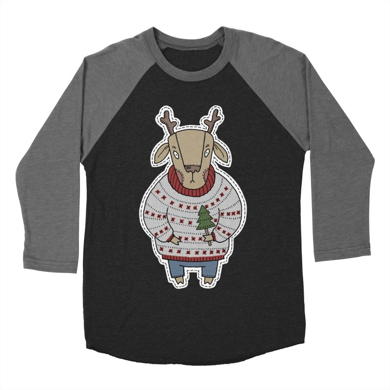 Christmas Deer Women's Baseball Triblend Longsleeve T-Shirt by Crazy Pangolin's Artist Shop