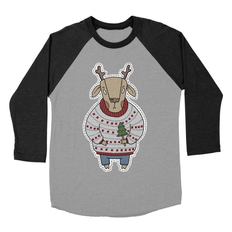 Christmas Deer Women's Baseball Triblend Longsleeve T-Shirt by Crazy Pangolin's Artist Shop