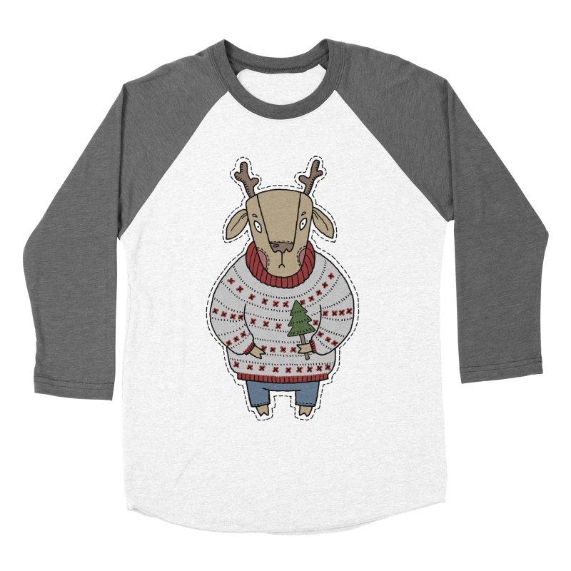 Christmas Deer Men's Baseball Triblend Longsleeve T-Shirt by Crazy Pangolin's Artist Shop
