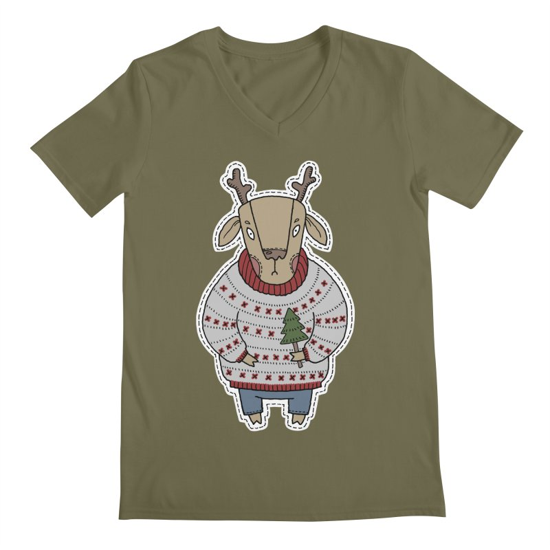Christmas Deer Men's Regular V-Neck by Crazy Pangolin's Artist Shop