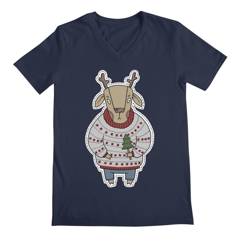 Christmas Deer Men's V-Neck by Crazy Pangolin's Artist Shop