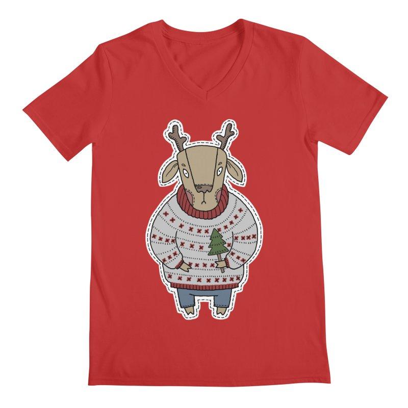 Christmas Deer Men's V-Neck by Crazy Pangolin's Artist Shop