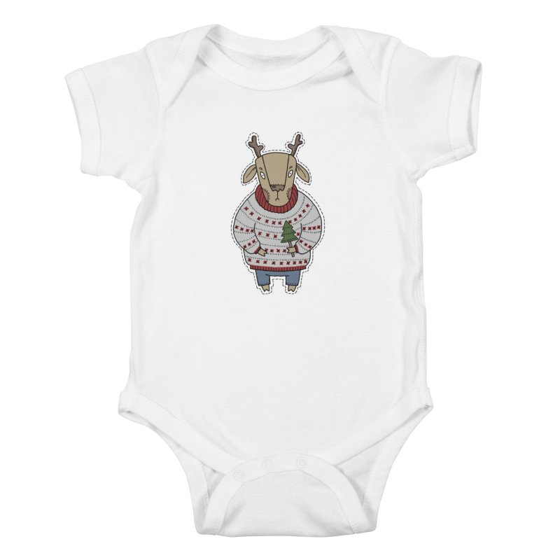 Christmas Deer Kids Baby Bodysuit by Crazy Pangolin's Artist Shop