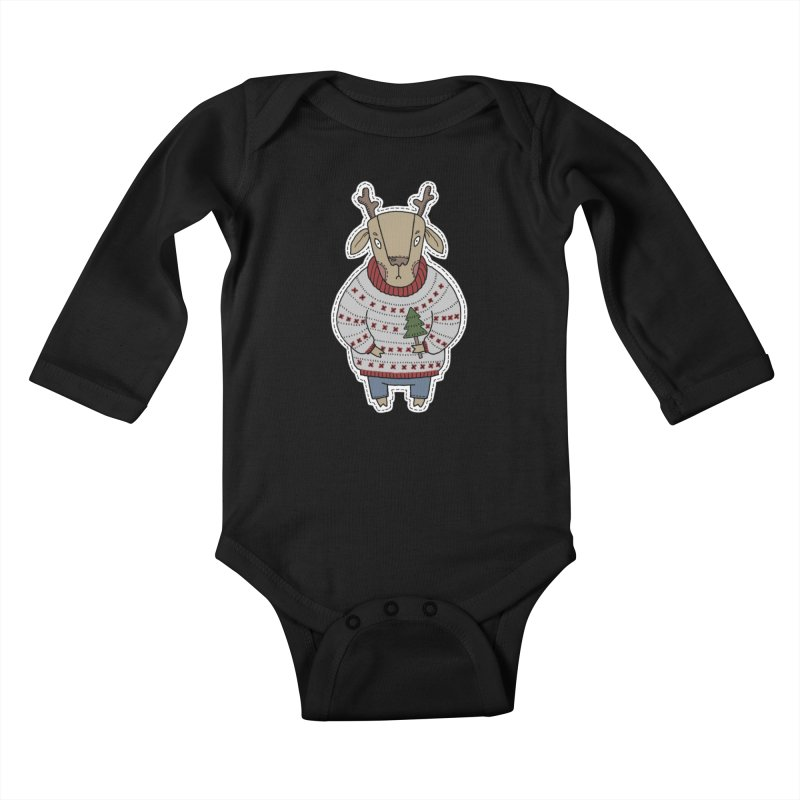 Christmas Deer Kids Baby Longsleeve Bodysuit by Crazy Pangolin's Artist Shop