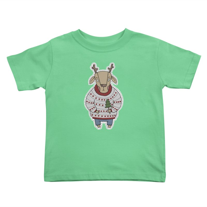 Christmas Deer Kids Toddler T-Shirt by Crazy Pangolin's Artist Shop