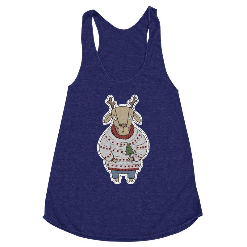 Christmas Deer Women's Racerback Triblend Tank by Crazy Pangolin's Artist Shop