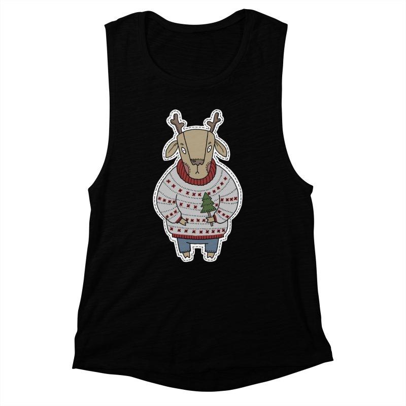 Christmas Deer Women's Muscle Tank by Crazy Pangolin's Artist Shop