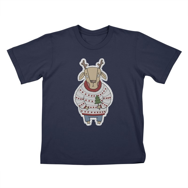 Christmas Deer Kids T-Shirt by Crazy Pangolin's Artist Shop