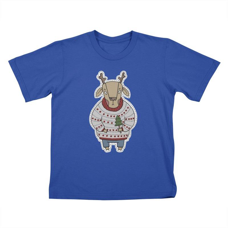Christmas Deer Kids T-Shirt by Crazy Pangolin's Artist Shop