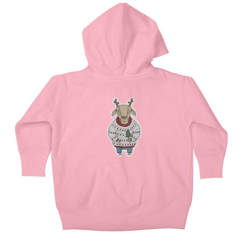 Christmas Deer Kids Baby Zip-Up Hoody by Crazy Pangolin's Artist Shop