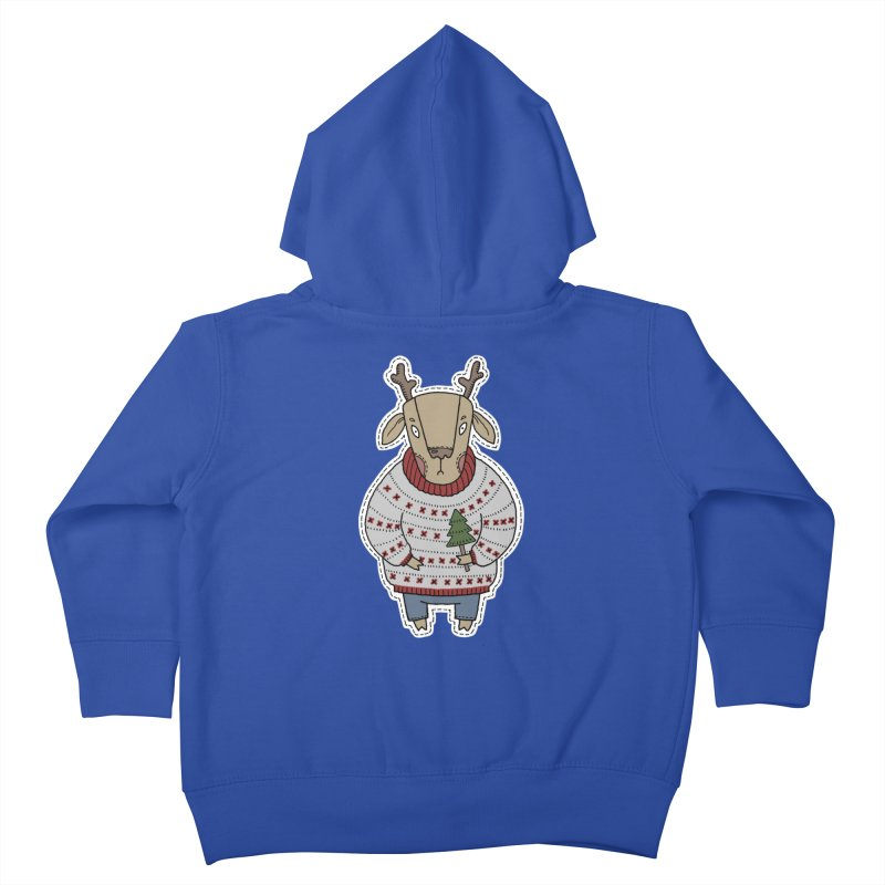 Christmas Deer Kids Toddler Zip-Up Hoody by Crazy Pangolin's Artist Shop