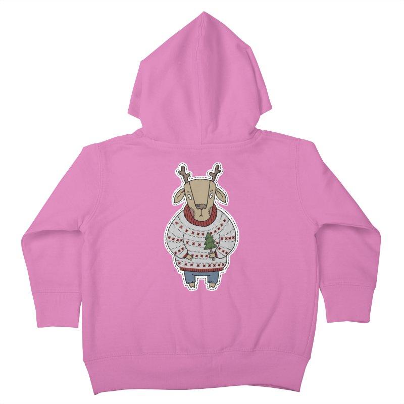 Christmas Deer Kids Toddler Zip-Up Hoody by Crazy Pangolin's Artist Shop