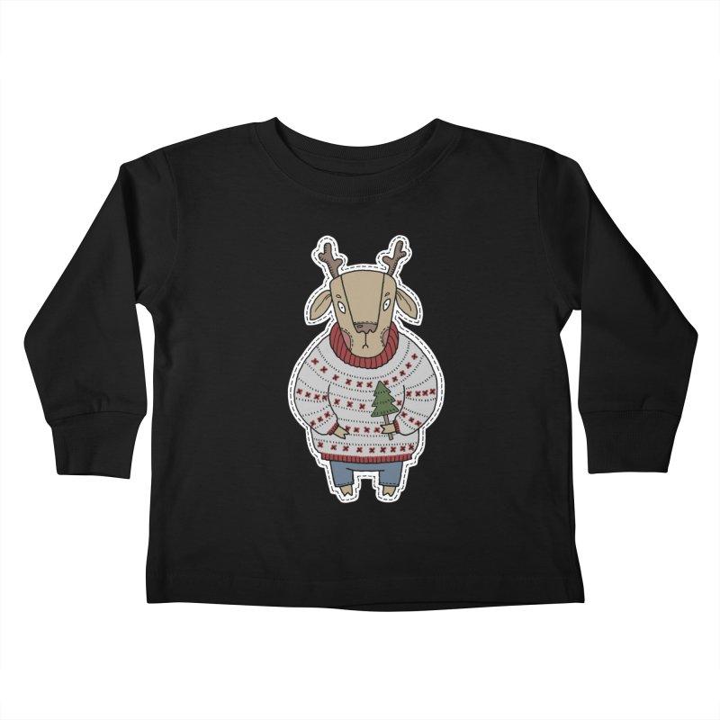 Christmas Deer Kids Toddler Longsleeve T-Shirt by Crazy Pangolin's Artist Shop