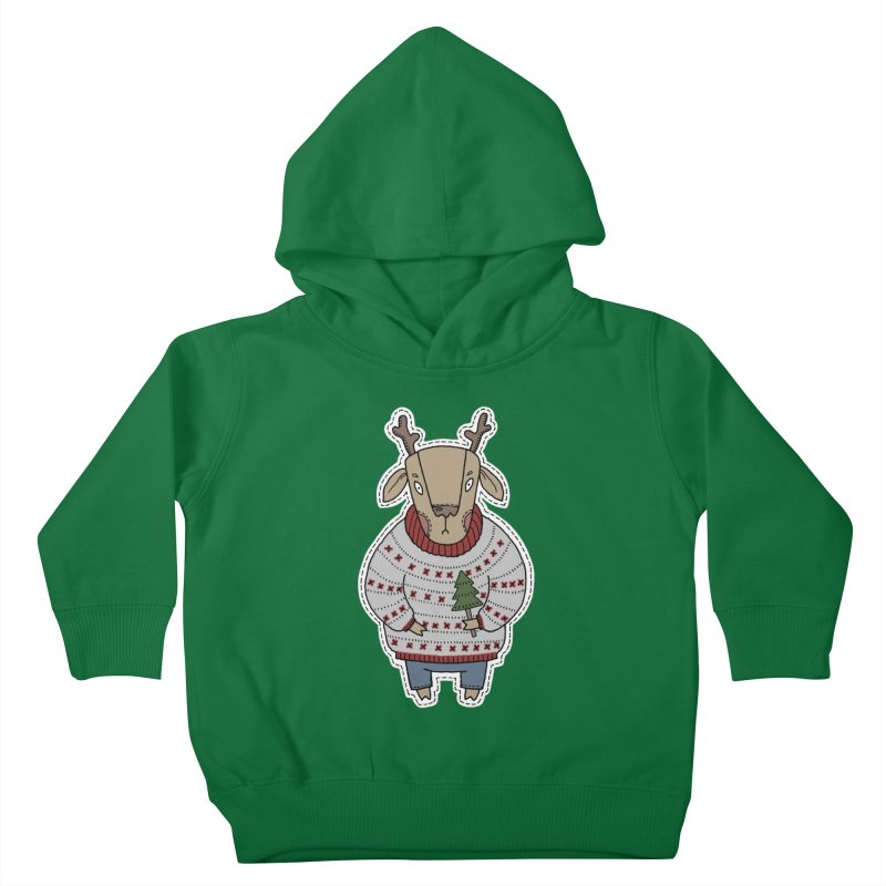 Christmas Deer Kids Toddler Pullover Hoody by Crazy Pangolin's Artist Shop