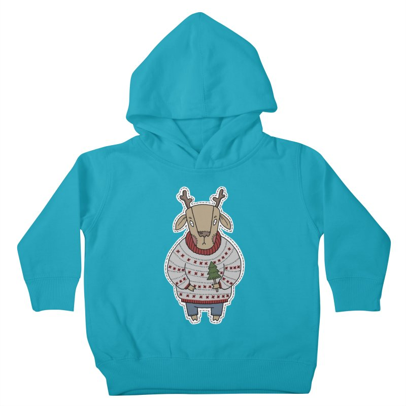 Christmas Deer Kids Toddler Pullover Hoody by Crazy Pangolin's Artist Shop