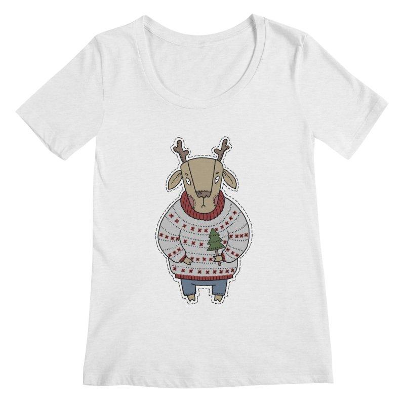 Christmas Deer Women's Regular Scoop Neck by Crazy Pangolin's Artist Shop