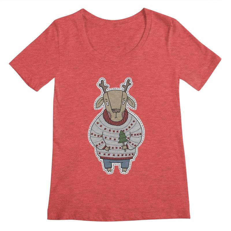Christmas Deer Women's Scoopneck by Crazy Pangolin's Artist Shop