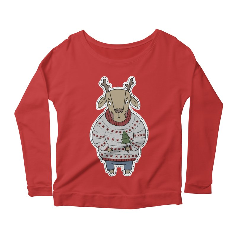 Christmas Deer Women's Longsleeve Scoopneck  by Crazy Pangolin's Artist Shop