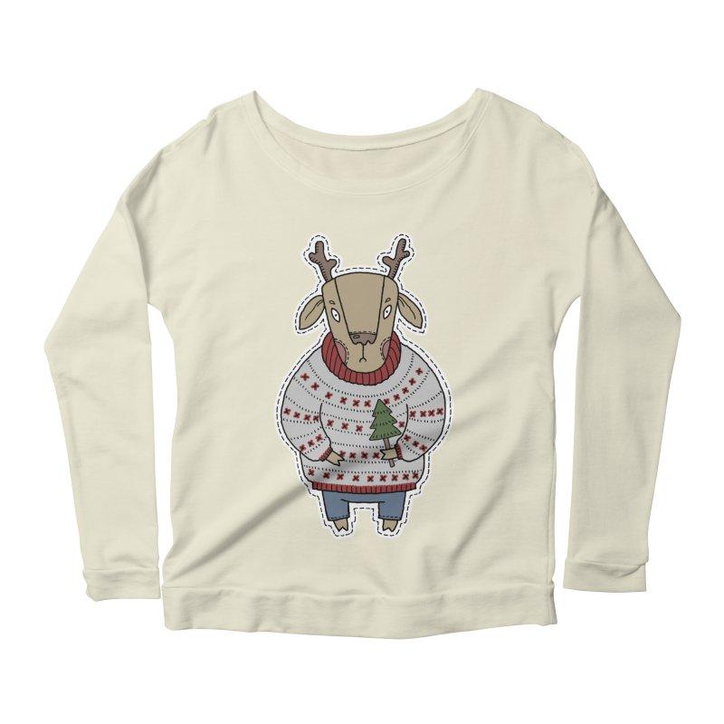 Christmas Deer Women's Scoop Neck Longsleeve T-Shirt by Crazy Pangolin's Artist Shop