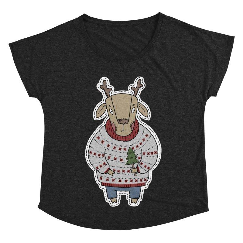 Christmas Deer Women's Dolman Scoop Neck by Crazy Pangolin's Artist Shop