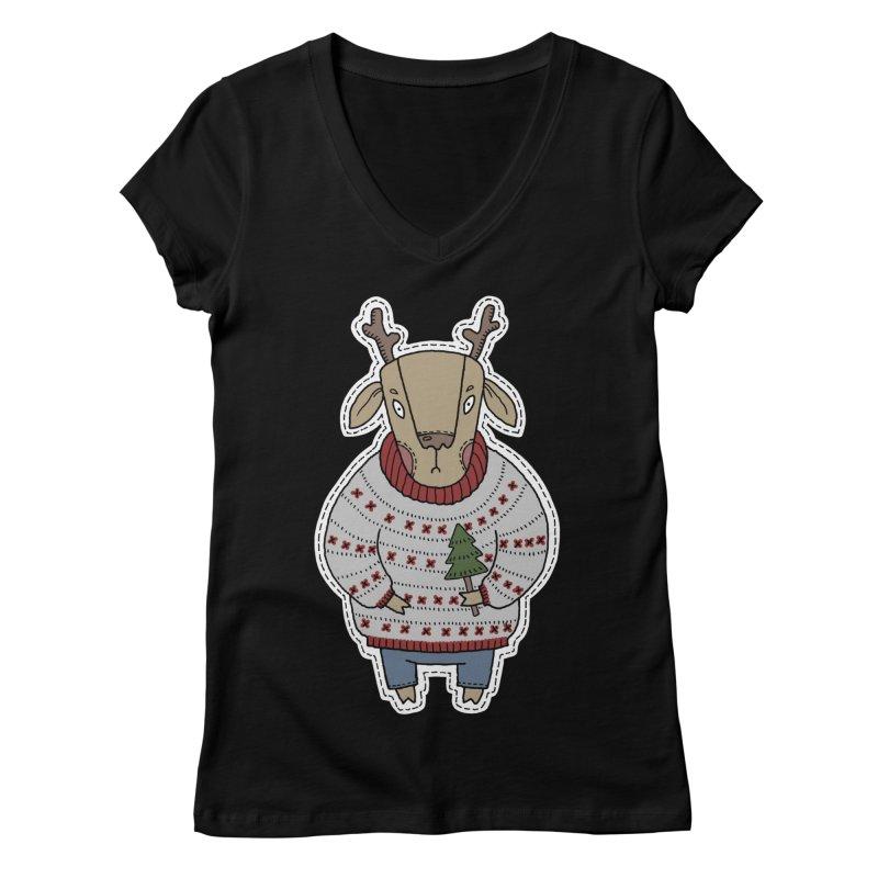 Christmas Deer Women's V-Neck by Crazy Pangolin's Artist Shop