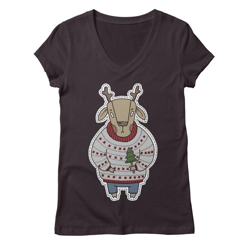 Christmas Deer Women's Regular V-Neck by Crazy Pangolin's Artist Shop