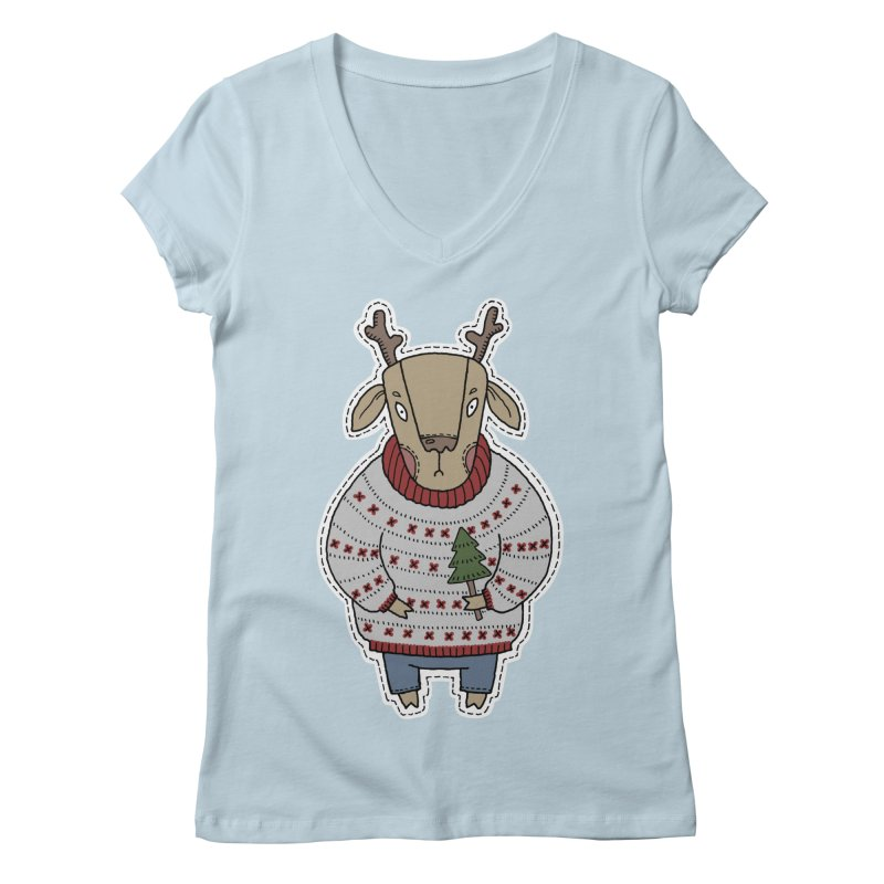 Christmas Deer Women's Regular V-Neck by Crazy Pangolin's Artist Shop