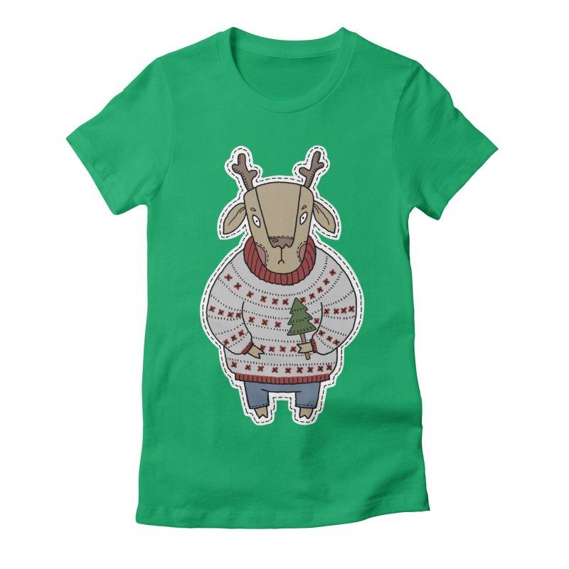 Christmas Deer Women's T-Shirt by Crazy Pangolin's Artist Shop