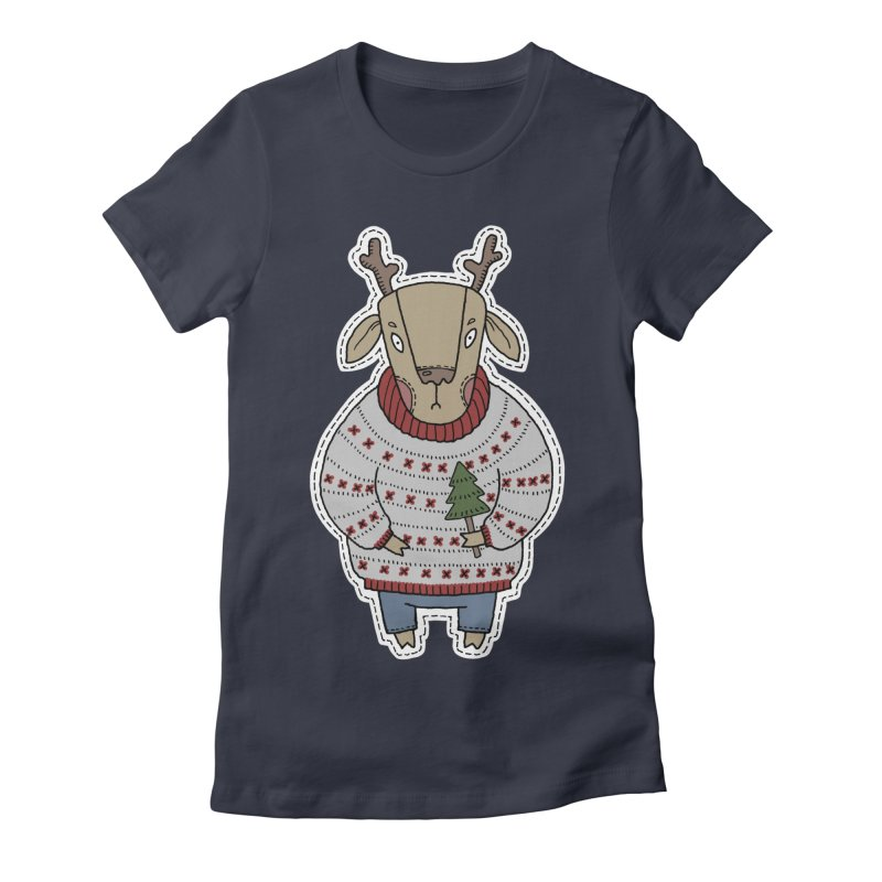 Christmas Deer Women's Fitted T-Shirt by Crazy Pangolin's Artist Shop