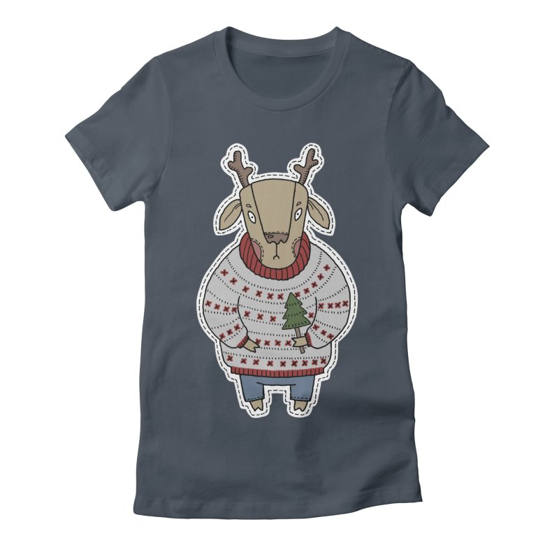 Christmas Deer Women's T-Shirt by Crazy Pangolin's Artist Shop