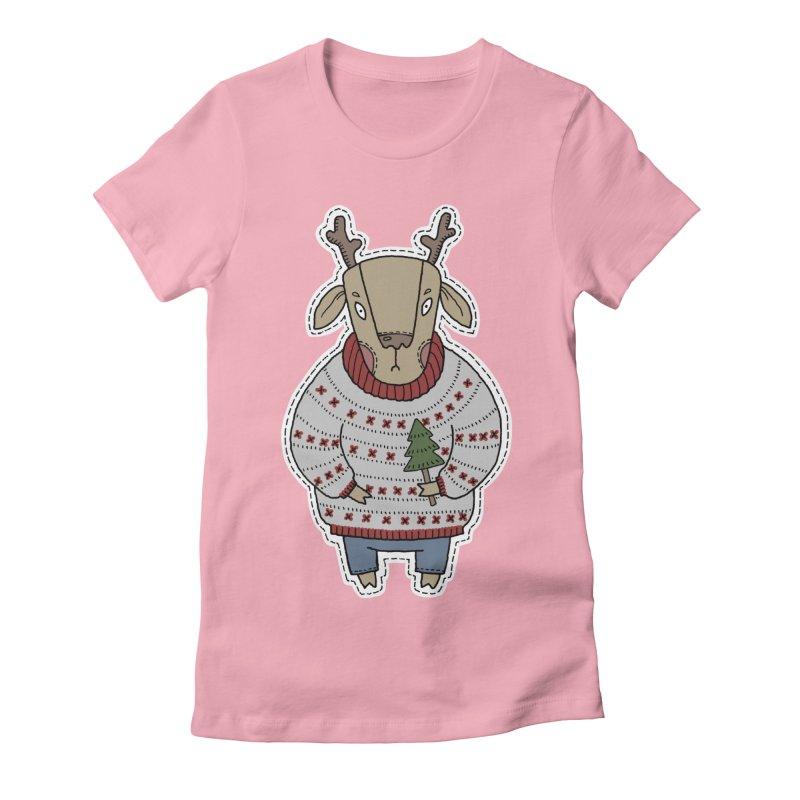 Christmas Deer Women's Fitted T-Shirt by Crazy Pangolin's Artist Shop