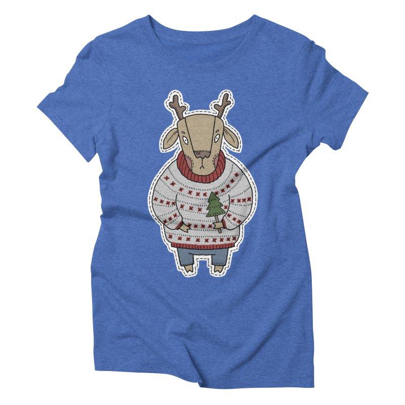 Christmas Deer Women's Triblend T-Shirt by Crazy Pangolin's Artist Shop