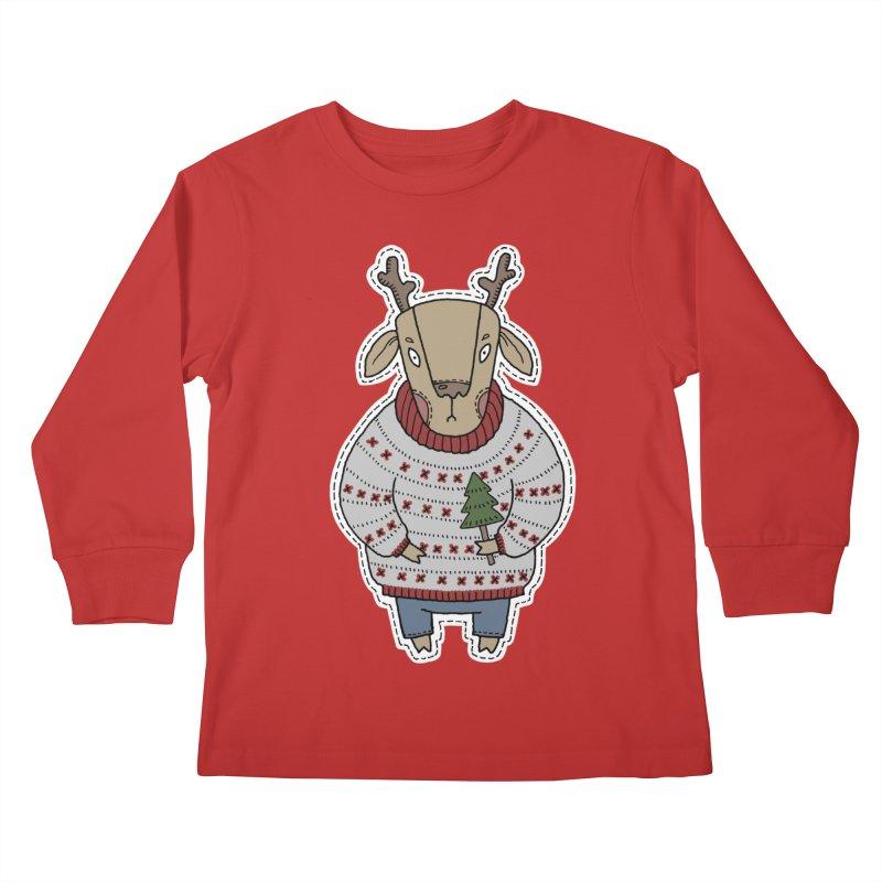Christmas Deer Kids Longsleeve T-Shirt by Crazy Pangolin's Artist Shop