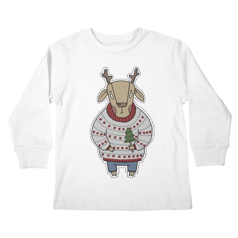 Christmas Deer Kids Longsleeve T-Shirt by Crazy Pangolin's Artist Shop