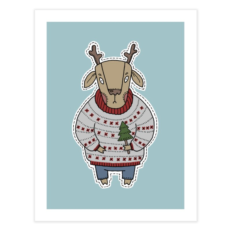 Christmas Deer Home Fine Art Print by Crazy Pangolin's Artist Shop