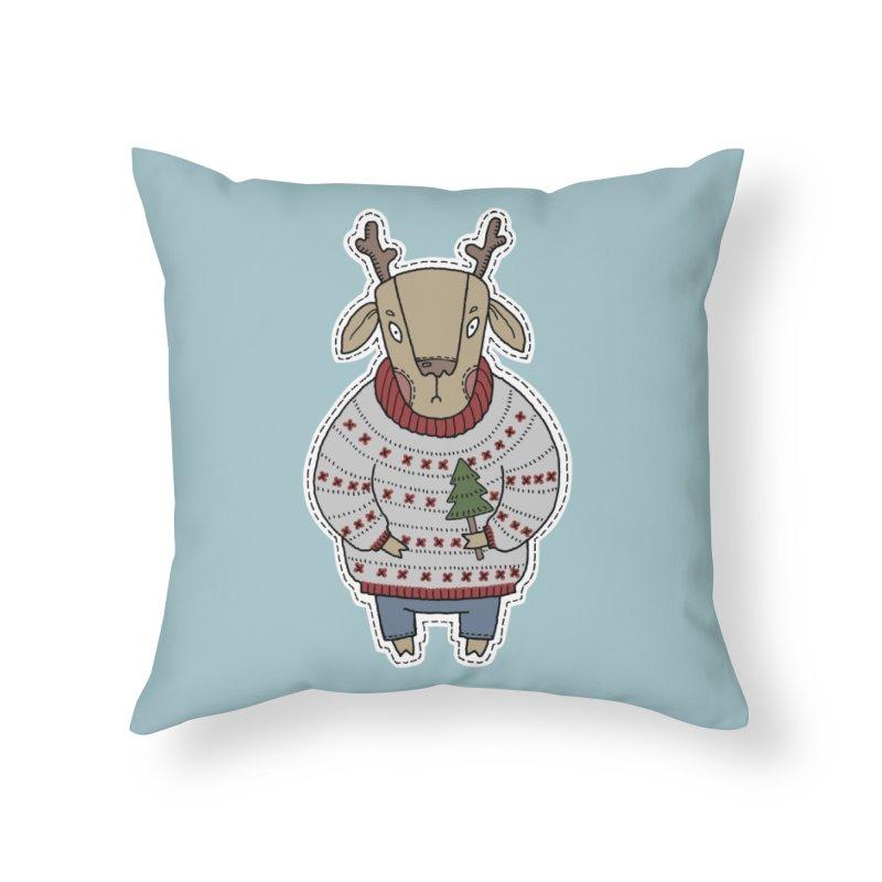 Christmas Deer Home Throw Pillow by Crazy Pangolin's Artist Shop