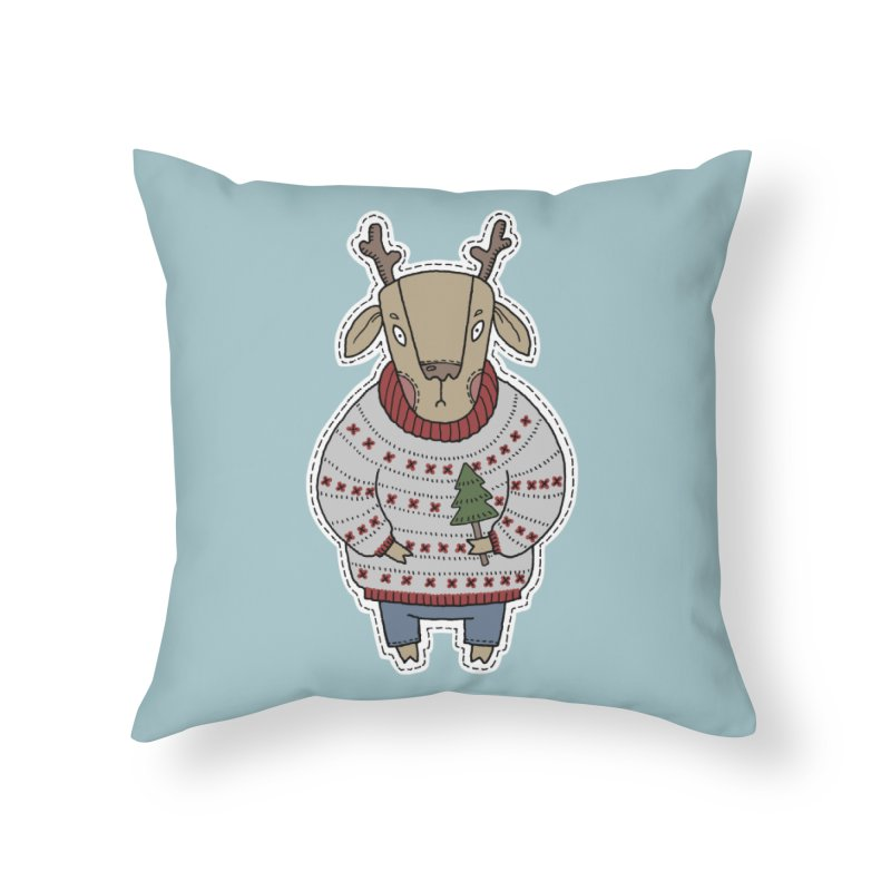 Christmas Deer Home Throw Pillow by Crazy Pangolin's Artist Shop
