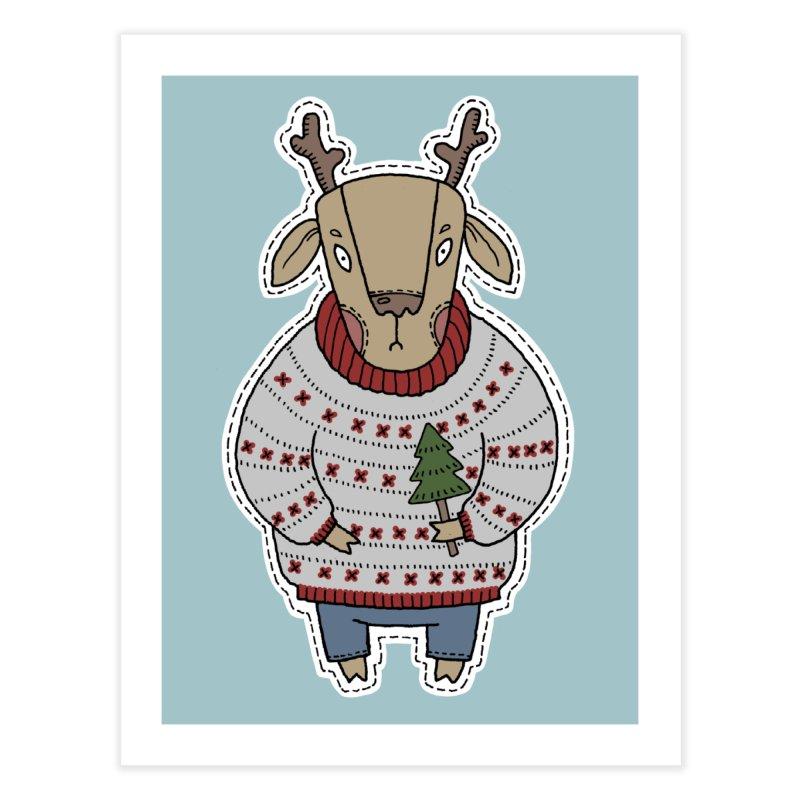 Christmas Deer Home Fine Art Print by Crazy Pangolin's Artist Shop