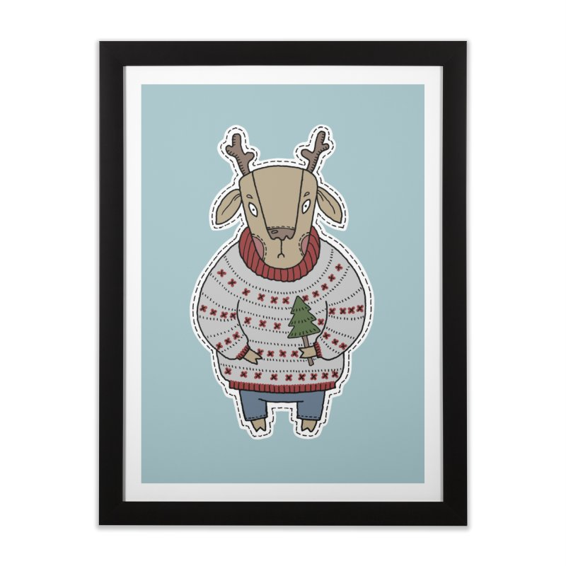 Christmas Deer Home Framed Fine Art Print by Crazy Pangolin's Artist Shop