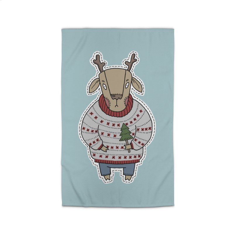 Christmas Deer Home Rug by Crazy Pangolin's Artist Shop