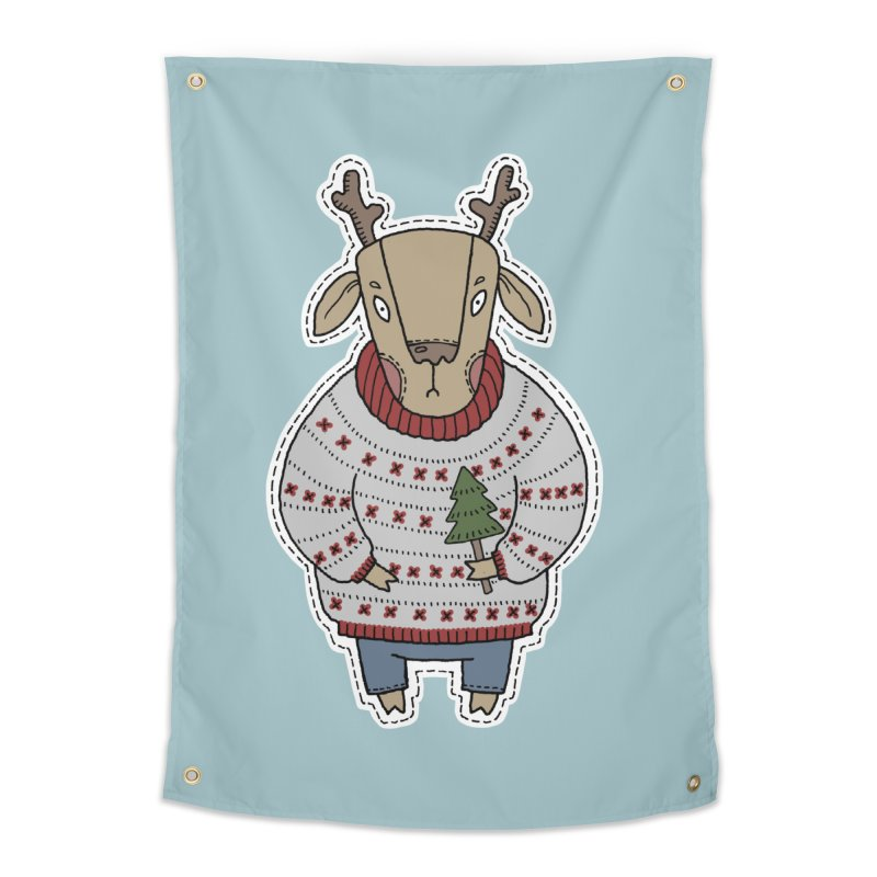 Christmas Deer Home Tapestry by Crazy Pangolin's Artist Shop